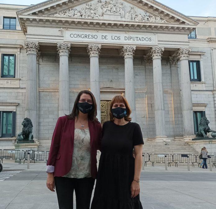 Vanessa Valdeiglesias e Zulema Varela fronte ao Congreso dos Deputados.