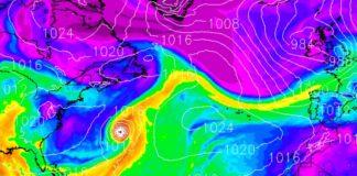 O furacán Sam (no centro da imaxe) alimentará de humidade o río atmosférico e a borrasca que chegará a Galicia nesta fin de semana. Fonte: MeteoGalicia.