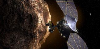 Ilustración da chegada de Lucy a un dos asteroides troianos. Fonte: NASA.