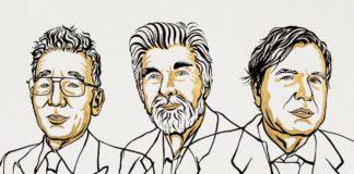 Syukuro Manabe, Klaus Hasselmann e Giorgio Parisi. Ilustración de Niklas Elmehed © Nobel Prize Outreach.